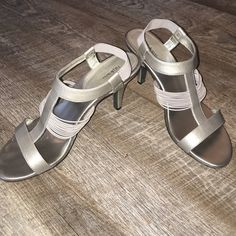 "🍁🍂Fall out of summer sale🍁Pewter heels. Only wore once. These sexy 3""  heels will add just the right flare to top off your outfit. Comes with original box. 🌲🍁FINAL PRICE Style & Co Shoes Heels"