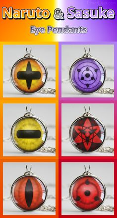 Eye pendants based on the eyes of Naruto Uzumaki and Sasuke Uchiha #Naruto #Sasuke #Sharingan