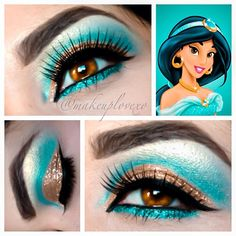 Eyes inspired by princess jasmine #wingedliner #falsies #glitter @makeuplovexo
