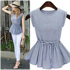 Summer new European and American wind fat MM XL Women waist was thin vertical striped shirt Women's clothing Crop Top Outfits, Casual Outfits, Blouse Styles, Blouse Designs, Hijab Fashion, Fashion Dresses, Fashion Shirts, Fashion Fashion, Korean Fashion