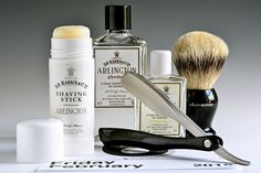 D.R. Harris Arlington shave soap stick, aftershave and cologne, Shavemac badger brush, Kai folding straight razor, February 6, 2015