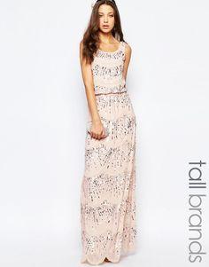 Maya Tall Chiffon Embellished Maxi Evening Dress in Pink UK 10/EU 38/US 6