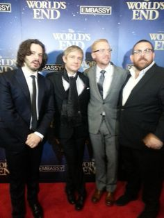 Twitter / Kerry_McBride: A blurry pic of director Edgar Wright, with stars Martin Freeman, Simon Pegg and Nick Frost. #WorldsEndNZ