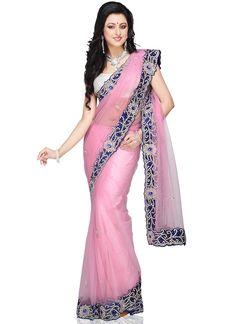 Pale Pink Net Saree