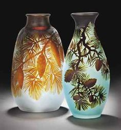 "Emile Gallé, ""Aux Pins"" vase over-laid, acid-etched and wheel-carved glass, ca. Art Nouveau, Vases, Art Of Glass, Cut Glass, Glass Ceramic, French Art, Antique Glass, Glass Design, Vintage Art"