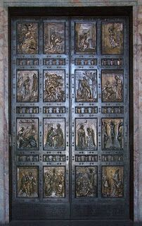 The Vatican Holy Doors ~ According to the description given in 1450 by Giovanni Ruccellai of Viterbo, it was Pope Martin V who in 1423, at the Basilica of Saint John Lateran, opened the Holy Door for the first time in the history of the Jubilee. In those days, Holy Years were celebrated every 33 years. In the Vatican Basilica the opening of the Holy Door is first mentioned at Christmas 1499.