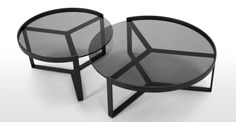 Aula Nesting Coffee Table, Black and Grey | made.com