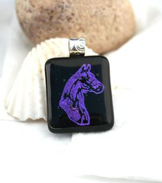 Dichroic Horse Pendant Purple with PMC Fine by hbjewelrydesign