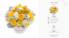Lemon Drop Floral Recipe using the Flowers by Number starter kit