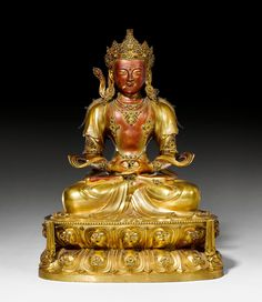 FIGURE OF AMITAYUS,  China, Kangxi, ca. 1700.  Fire-gilt bronze and red lacquer.  H 42 cm.