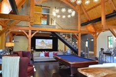 Media/Game Room - Converted Barn in Harding, NJ - traditional - media room - new york - Kevin Crouse Audio Design