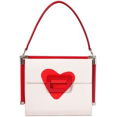 ROGER VIVIER Small Miss Vive Heart Patent Leather Bag - White/Red (136.075 RUB) ❤ liked on Polyvore featuring bags, handbags, carteras, purses, white handbags, hand bags, white patent leather handbag, white patent handbag and man bag