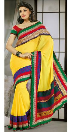 Divine Green, Red & Yellow Embroidered #Saree