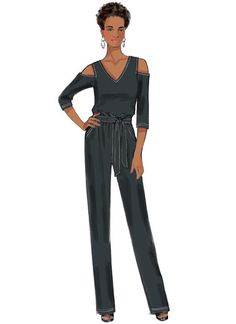 B6425 Butterick sewing pattern Misses' Cold-Shoulder Top, Dress and Jumpsuit, Pull-On Pants, and Sash