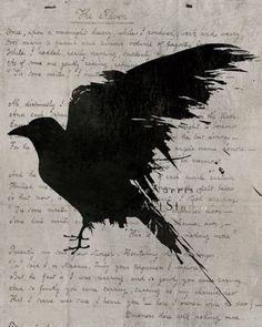 The raven Poem - Nevermore - Gothic art print - Edgar Allan Poe - Black bird art - Geekery art - Modern decor - dramatic dark art. via Etsy. Edgar Allan Poe, Edgar Allen Poe Tattoo, The Raven Poem, Rabe Tattoo, Quoth The Raven, Raven Art, Arte Obscura, Tatoo Art, Tattoo Bird