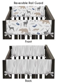 Woodland Animals Collection Side Rail Guard Covers - Set of 2 Unicorn Rooms, Rail Guard, Baby Boy Cribs, Childrens Beds, Baby Room Decor, Nursery Decor, Nursery Design, Kid Beds, Woodland Animals