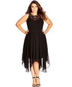 City Chic Plus Size Lace-Yoke Empire-Waist Dress