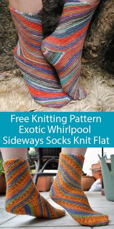 Free Knitting Pattern for Sideways Exotic Whirlpool Socks - Bias garter stitch socks constructed by knitting sideways flat with circular needle that creates a swirling design after grafting. Both sock Knitted Socks Free Pattern, Knitting Patterns Free, Knit Patterns, Free Knitting, Baby Knitting, Crochet Pattern, Sweater Patterns, Vintage Knitting, Stitch Patterns
