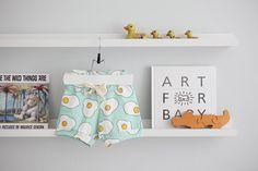 ORGANIC Free Range Eggs Drawstring Baby Shorties by bibsandco