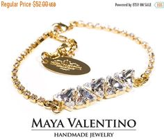 Swarovski Bracelet 14K Gold Silver Elegant by MayaValentino