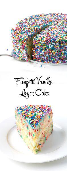 Amazing Funfetti Vanilla Layer Cake | via sweetestmenu.com