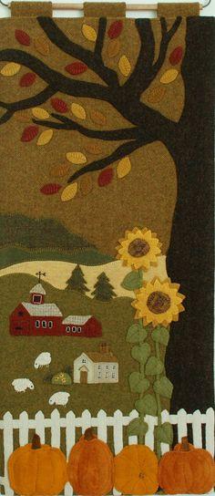 "Wool Applique Pattern Kit Pumpkins Sunflowers ""The Farm on Grange Hall Road"" autumn wall hanging fall folk art wool quilt – 2019 - Wool Diy Motifs Applique Laine, Wool Applique Patterns, Felt Applique, Quilt Patterns, Applique Designs, Machine Applique, Machine Embroidery, Embroidery Designs, Motifs D'appliques"