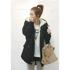Korean Solid Color Cotton-Padded Hooded Long Sleeves Thicken Coat For Women