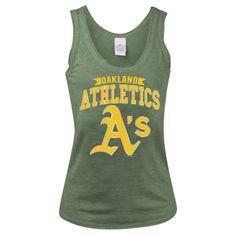 New Era Oakland Athletics Women's Green Foil Line Tri-Blend Tank Top