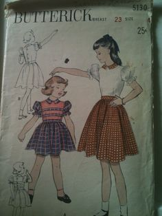 Butterick #5130. Girls' full-skirted dress, size 4. Looks to be from the 1950's.