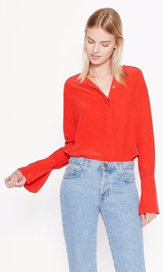 4827ab89589e95 NWT Equipment Kenley Bell Sleeve Washed Silk Blouse Top Shirt – French Red