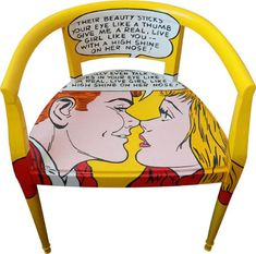 Pop Art Furniture - Silvia Zacchello's work is based on the art of recycling and restoring furniture and vintage objects, particularly chairs. Painted Chairs, Hand Painted Furniture, Funky Furniture, Recycled Furniture, Unique Furniture, Furniture Making, Furniture Design, Restoring Furniture, Decorated Chairs