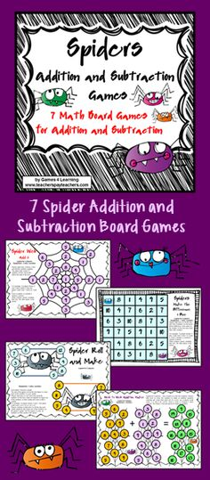 Spiders Addition and Subtraction Board Games from Games 4 Learning 7 color board games perfect for Halloween $