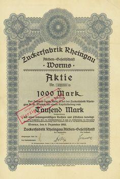 HWPH AG - Historische Wertpapiere - Zuckerfabrik Rheingau AG, Worms, 08.12.1922, Aktie über 1.000 Mark, später auf 40 RM umgestempelt