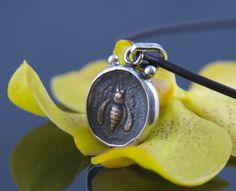 Ancient Coin Necklace with Leather Cord - Ephesus Bee Icon IV