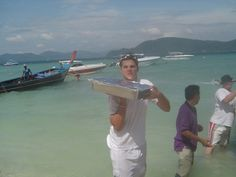 Fabrice bringing our equipment to a function on a deserted Island