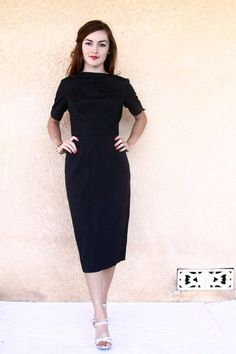 1950s dress / 50s black cocktail dress / 50s by aLaPlageVintage, $48.00