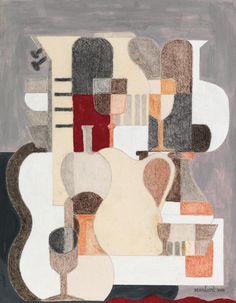 Amédée Ozenfant (French, Accords ou Fugues, Pastel and gouache on paper, 32 x 26 cm. Le Corbusier, Gouache, Pastel, A Level Art, Art History, Still Life, Paint Colors, Modern Art, Objects