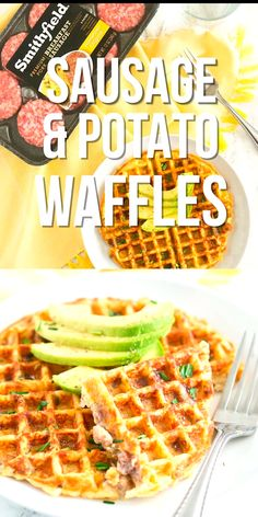 Sausage and potato waffles - a new spin on the classic waffles. Crispy on the outside and soft on the inside. Delicious savory and easy breakfast idea! Savory Waffles, Sweet Potato Waffles, Pumpkin Waffles, Breakfast Waffles, Cornbread Waffles, Mexican Breakfast, Breakfast Sandwiches, Breakfast Bowls, Waffle Bowl