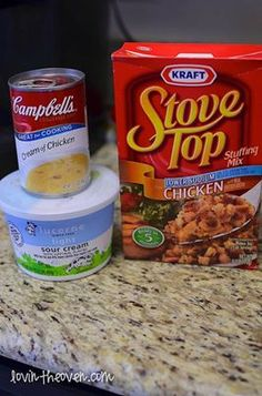 4 thawed chicken breasts, 6oz. package of Stove Top stuffing mix, 1/2 cup sour cream, 1 can of cream of chicken soup. Chicken on bottom - Stove Top over chicken, Cream of Chicken/Sour Cream mix on top. Cover and cook for 4 hours on low.