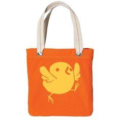 #CuteYellowChick #OrangeCanvasToteBag by #MoonDreamsMusic