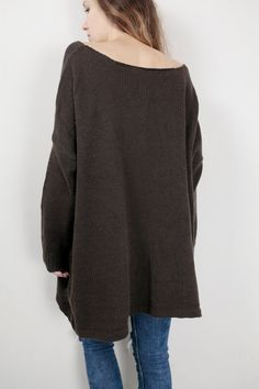 Simple and stylish oversize sweater!  It is made of soft 60% wool/ 40% acrylic yarn. It is a perfect item for Fall/winter. Color: Brown, Pls. see color options for other colors.  Size: S(0-4) M(6-8)L(10-12)XL(14-16) Hand wash only and lay flat to dry.  I have other colors for this sweater. Pls. Check my shop for details: http://www.etsy.com/shop/MaxMelody?section_id=7175104  DESIGN RIGHTS BELONG TO MAXMELODY