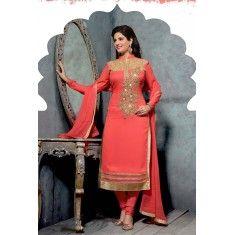 Eid Special Designer Salmon Orange  Pure Atlanta Georgette  Party Wear A-line  Salwaar Suit-SDS389CL( ARTI -Rani)