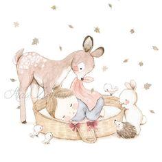 New baby ilustration cute bunnies 53 Ideas - Bichinhos da floresta - Happy Baby Baby Gift Hampers, Baby Hamper, Baby Illustration, Watercolor Illustration, Baby Animals, Cute Animals, Budget Baby Shower, Baby Painting, Baby Art