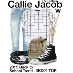 Inspired by Maia Mitchell as Callie Jacob on The Fosters. Tv Show Outfits, Cute Outfits, The Astronaut Wives Club, All Star, School Trends, Boxy Top, Fandom Fashion, New Wardrobe, Mode Style
