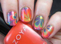 The Digit-al Dozen DOES Decades, Day 2: Groovy Flower Power Watermarble Nail Art!