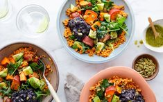 "Shop local groceries for delivery in the San Francisco Bay Area. This burrito bowl packs plant-based protein, relying on ""rice"" that's a blend of lentils and chickpeas. It's topped off with lots of colorful components, with Chickpeas, Lentils, Vegan Burrito Bowls, Plant Based Protein, Shop Local, Weeknight Dinners, Egg Recipes, Burritos, High Protein"