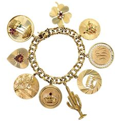 Midcentury Heavy Chunky 14 Karat Yellow Gold Charm Bracelet For Sale Mens Gold Jewelry, Gold Jewelry Simple, White Gold Jewelry, Gold Jewellery, Jewlery, Fine Jewelry, Jewelry Making, Vintage Charm Bracelet, Antique Bracelets