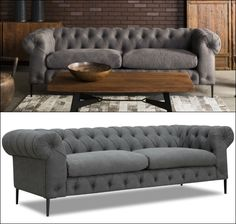 Add an urban contemporary flare to your living space with the luxury, modern tufted gray chesterfield sofa. With classic chesterfield design, this sofa blends the traditional button tufting with the sleek, simple lines of mid-century modern design. Mix of modern era and traditional, this makes this sofa inviting and incredibly comfortable. A perfect transitional piece for almost any living room decor.