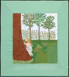 """36 – GRANDDAUGHTER  (From the picture): """"The summer you were 3 years old, dear Mami Sheine, Grandma came to visit you. We went to a park where you discovered a huge tree. I never forgot the expression on your face as you stood there admiring the tree. Grandma loves you so much.""""  Embroidery and fabric collage, 1999. 22-1/8""""W x 25-1/8""""H. FABRIC OF SURVIVAL 