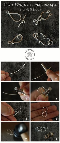 Making Basics 5 - Four Ways To Make Wire Clasps jewelry diy for beginners: learn how to make hand made wire clasp using jewelry wire.jewelry diy for beginners: learn how to make hand made wire clasp using jewelry wire. Jewelry Clasps, Wire Wrapped Jewelry, Clay Jewelry, Beaded Jewelry, Handmade Jewelry, Diy Jewelry Findings, Gold Jewelry, Jewelry Box, Jewelry Tools